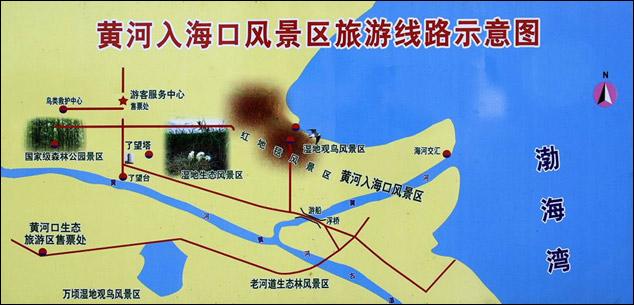 黄河入海口风景区旅游线路示意图