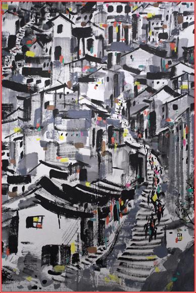 重庆山城黑白简笔画