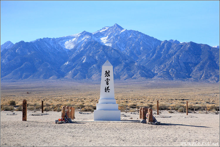 Manzanar Historic Site的日本人公墓和纪念碑